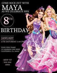 Kids Barbie Birthday Invitation Template