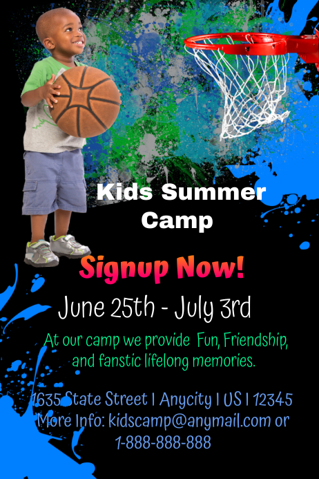 Kids Basketball Camp Template Postermywall