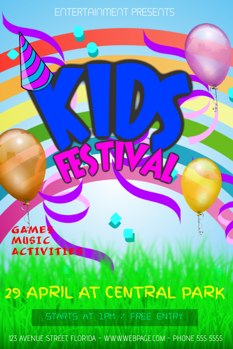 kids birthday party festival event flyer template