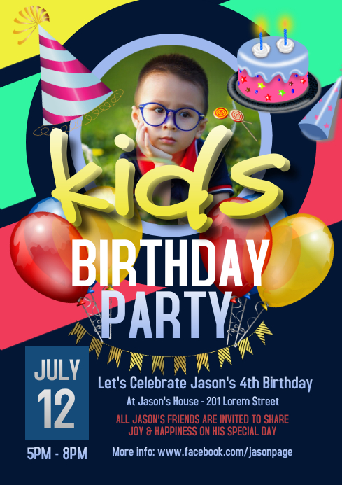 Kids Birthday Party Flyer A4 template