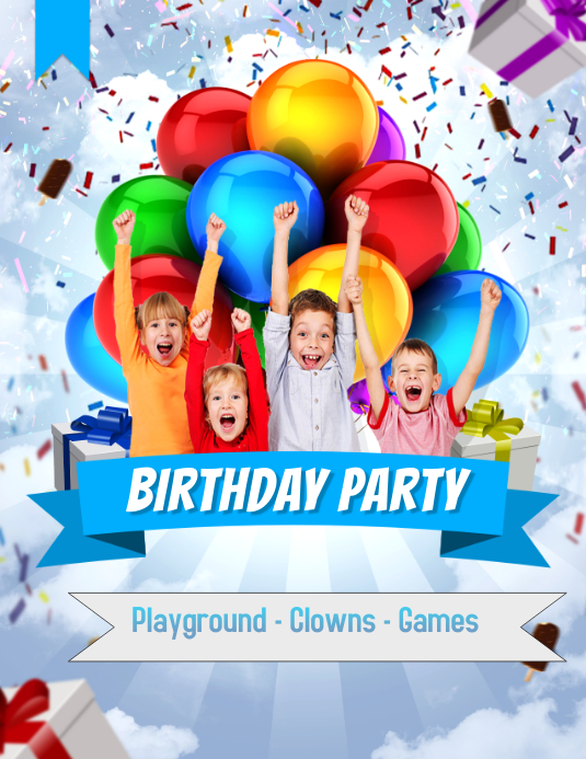 Kids Birthday Party Flyer ใบปลิว (US Letter) template