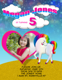 kids birthday party unicorn invitation