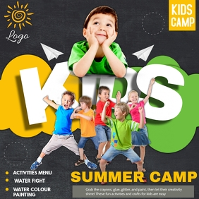 Kids camp ,summer camp,Kids activities Quadrado (1:1) template