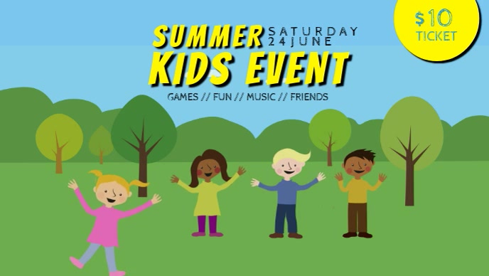 kids camp fest event facebook cover template video