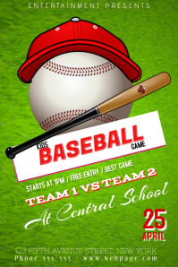 kids children baseball game match flyer template