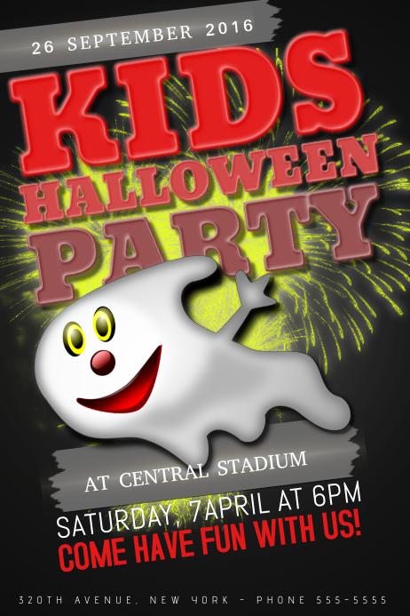 kids children halloween night event poster template
