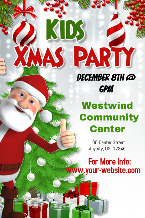 Christmas Party Flyer Template.Kids Christmas Party Template Postermywall