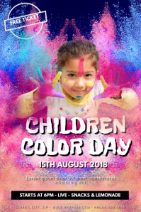 Kids Coloring colorful color event flyer template
