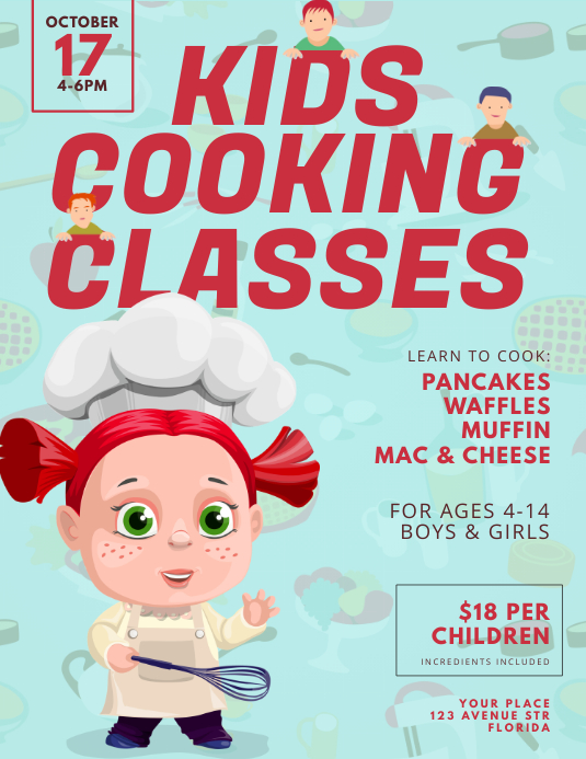 kids Cooking Classes Flyer Design Template