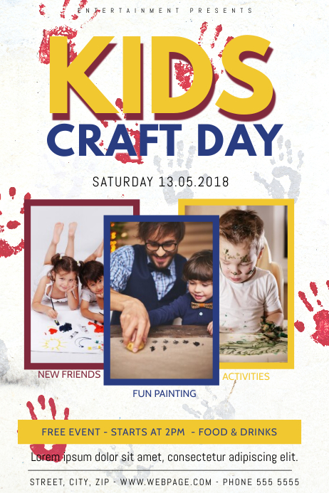 kids craft day event party painting flyer template postermywall
