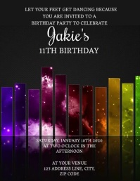 Kids Dance Birthday Invitation Template Flyer (format US Letter)