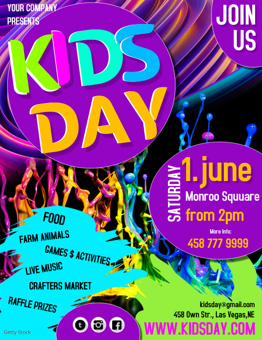kids day3 Flyer (Letter pang-US) template