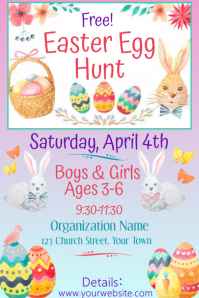 Kids Easter Egg Hunt Poster 24x36 and Advert Плакат template