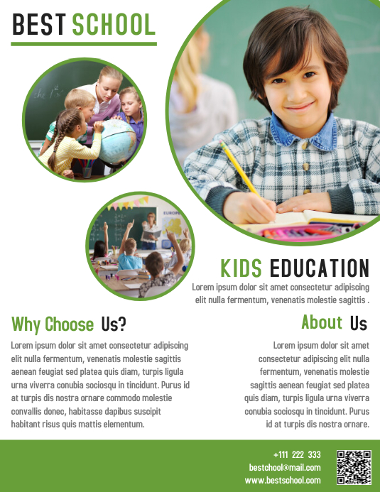 Kids Education School Flyer Template Design