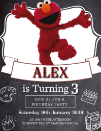 Kids Elmo Birthday Invitation Template