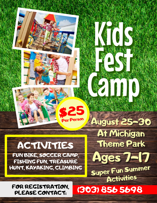 Kids Fest Camp Flyer Template Volante (Carta US)