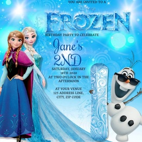 Kids Frozen Birthday Invitation Template Square (1:1)