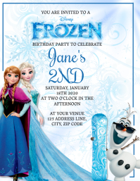 Kids Frozen Birthday Invitation Template ใบปลิว (US Letter)