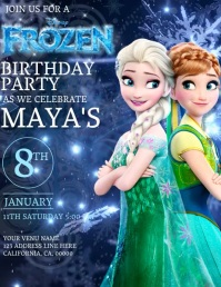 Kids Frozen Birthday Invitation Template Flyer (US Letter)