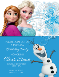 Kids Frozen Birthday Party ใบปลิว (US Letter) template