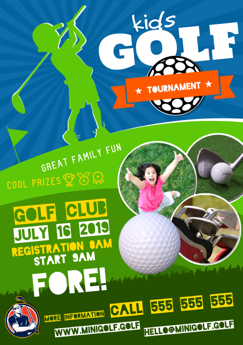 KIDS GOLF TOURNAMENT POSTER A4 template