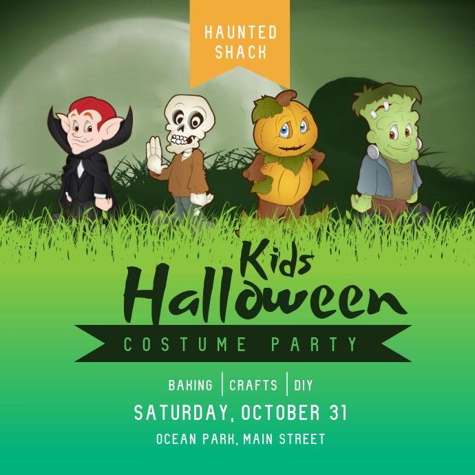 Kids Halloween Costume Party Square Video Vierkant (1:1) template