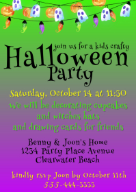 Kids Halloween Crafts Party Invitation A6 template