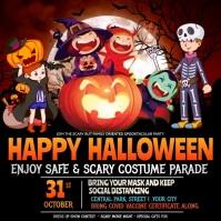 kids Halloween parade Quadrato (1:1) template