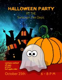 Kids Halloween Party Event Flyer template