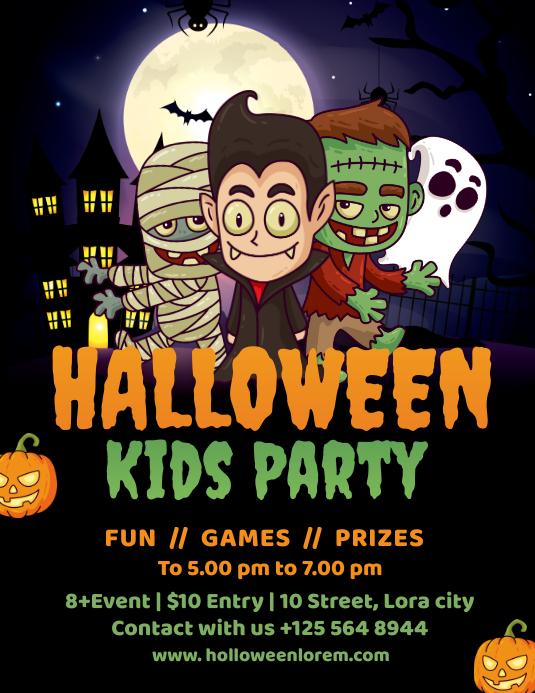 Kids Halloween Party Flyer Template