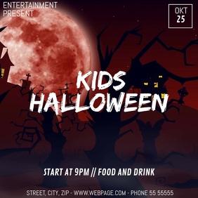 Kids halloween video flyer template