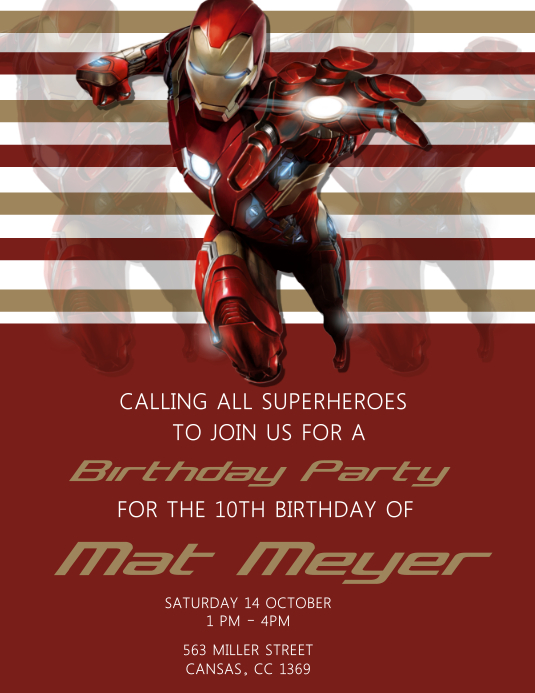 Kids Iron man Birthday Party Volante (Carta US) template