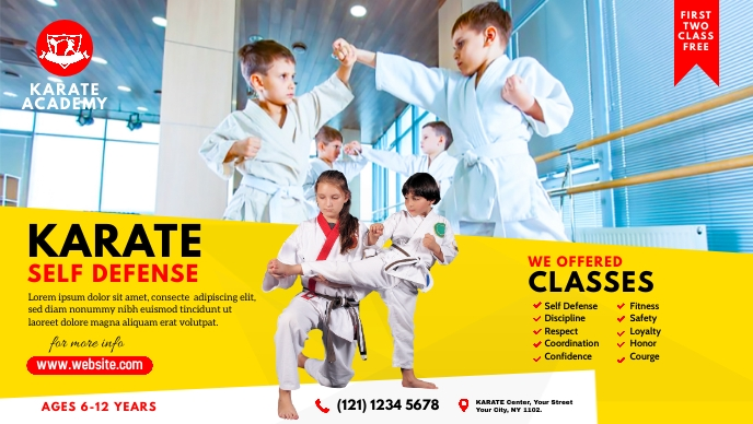 Kids Karate Class Ad Vídeo de capa do Facebook (16:9) template