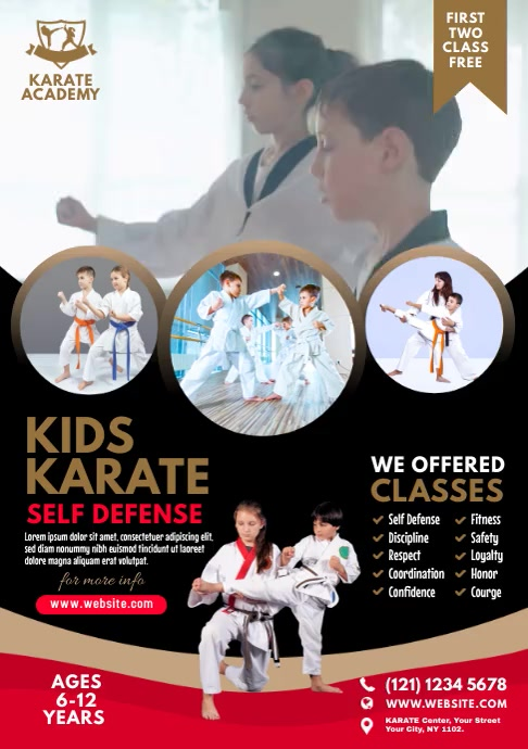 Kids Karate Lessons A4 template