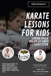 Kids karate lessons flyer design template