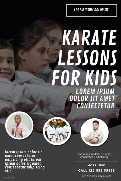 Kids karate lessons flyer design template