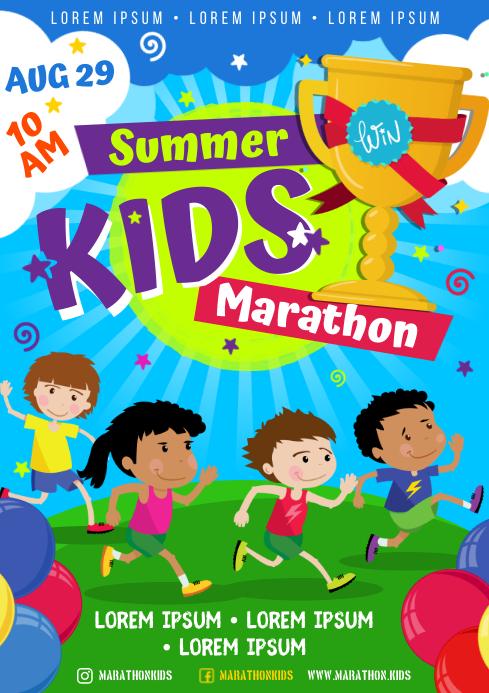 KIDS MARATHON POSTER A4 template