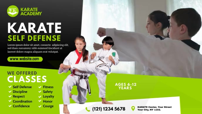 Kids Martial Arts Lessons Ad Vídeo de capa do Facebook (16:9) template