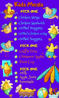 "Kids Menu ""Chicken Vacation"" US Legal template"