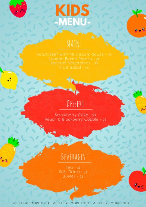 kids menu template postermywall