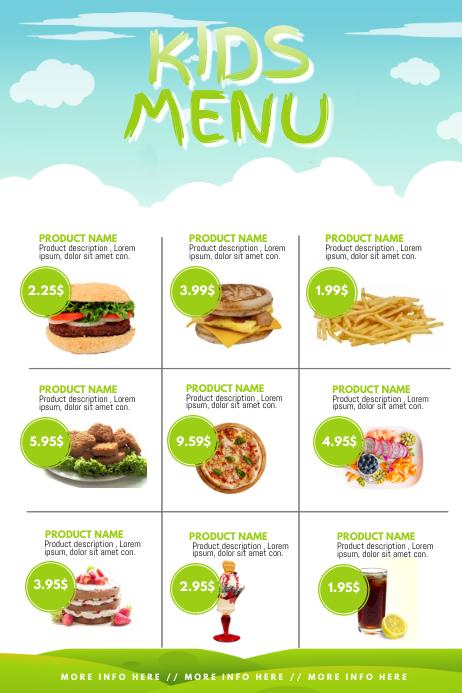 Kids menu Template | PosterMyWall