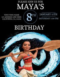 Kids Moana Birthday Invitation Template