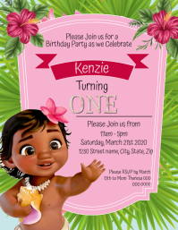 Kids Moana Birthday Invitation Template