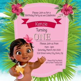 Kids Moana Birthday Invitation Template Square (1:1)