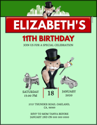 Kids Monopoly Birthday invitation Template