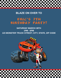 Kids Monster truck Birthday Party Invitation