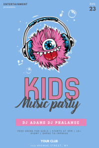 Kids Music Party Flyer Template 海报