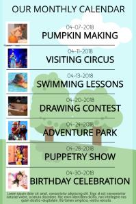 kids Or School monthly activity calendar