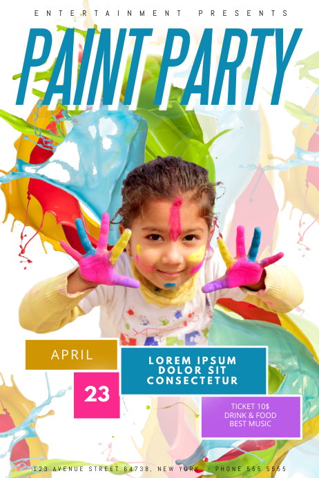 Kids Paint Party Flyer Template Summer Colorful