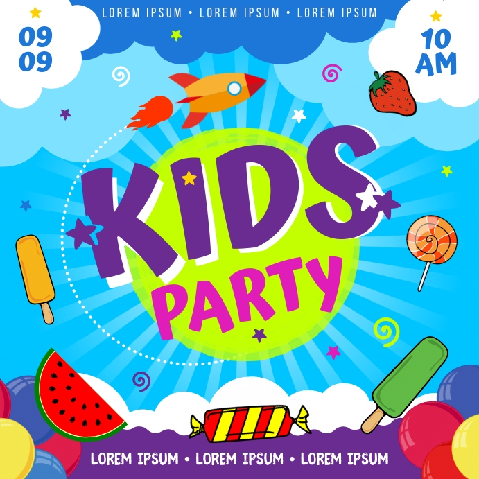 KIDS PARTY BANNER Instagram-opslag template